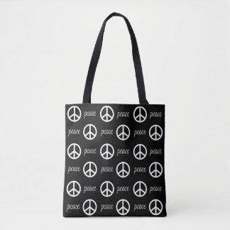 Black and White Peace Symbol Tote Bag