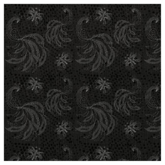 """""""Black and white"""" peacock design with halftones Fabric"""