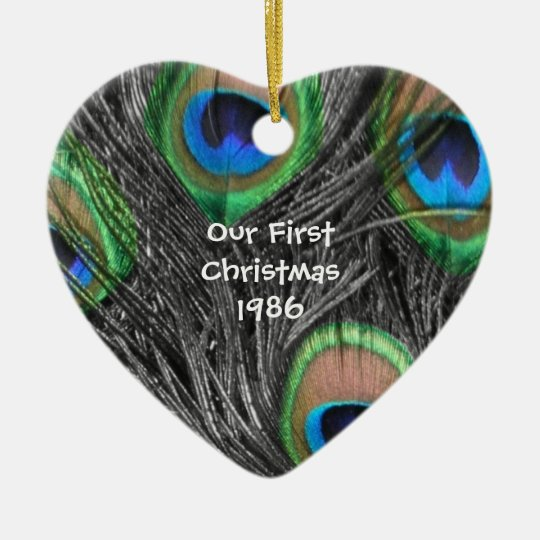 Black and White Peacock Feather Ornament
