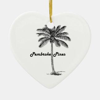Black and White Pembroke Pines & Palm design Ceramic Heart Decoration