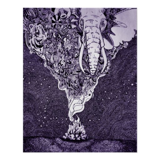 black and white pen and ink drawing poster