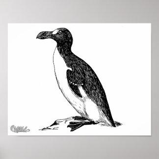 Black and White Penguin Bird Art Poster