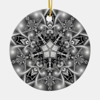 Black and White Pentagram Star Christmas Ornament