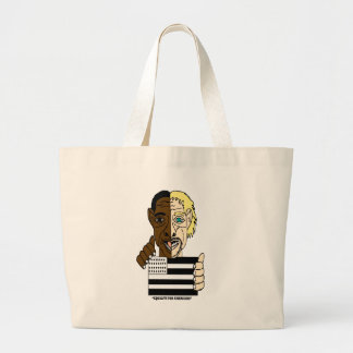 Black and White People Uniting Tote Bags