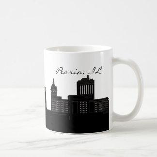 Black and White Peoria, Illinois Skyline Coffee Mug