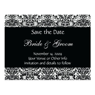 Black and White Personalised Damask Save the Date Postcards