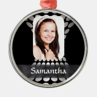 Black and white personalized photo templates christmas ornament