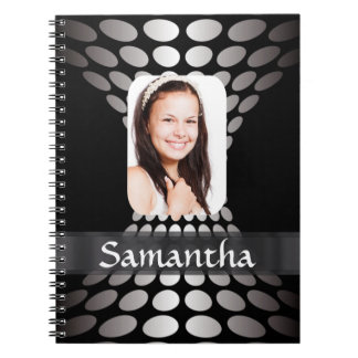 Black and white personalized photo templates notebook