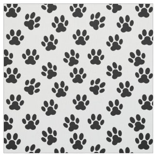 black and white pet paw prints fabric