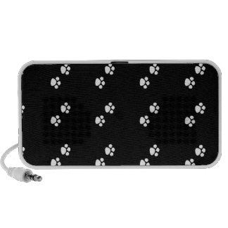 black and white pet paws doodle speaker
