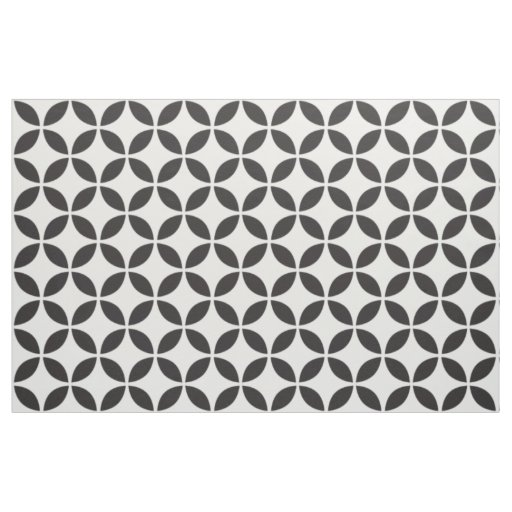 Black and White Petals Fabric