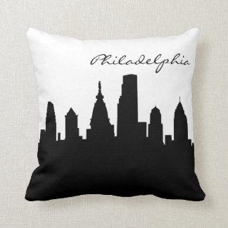 Black and White Philadelphia Skyline Cushion