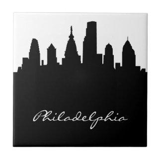 Black and White Philadelphia Skyline Tile
