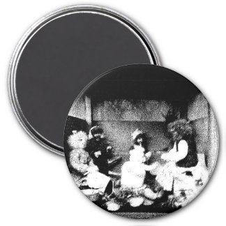 Black and white photo 7.5 cm round magnet