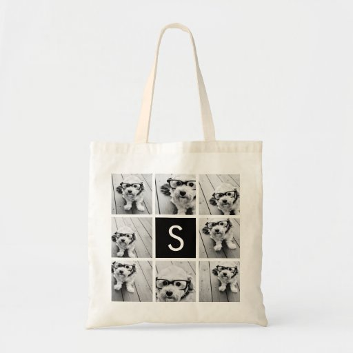 Black and White Photo Collage Custom Monogram Tote Bags