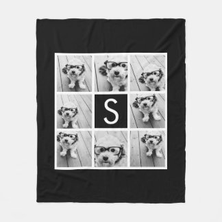 Black and White Photo Collage Custom Monogram Fleece Blanket