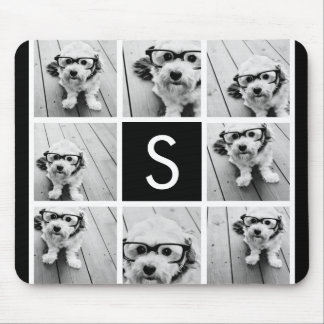 Black and White Photo Collage Custom Monogram Mouse Mat