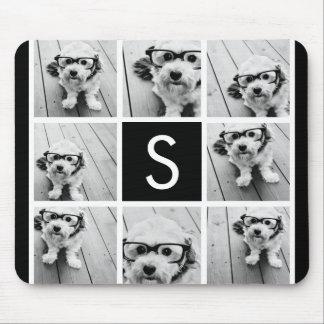 Black and White Photo Collage Custom Monogram Mouse Pad