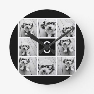 Black and White Photo Collage Custom Monogram Round Clock