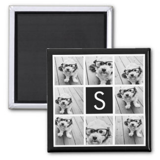 Black and White Photo Collage Custom Monogram Square Magnet