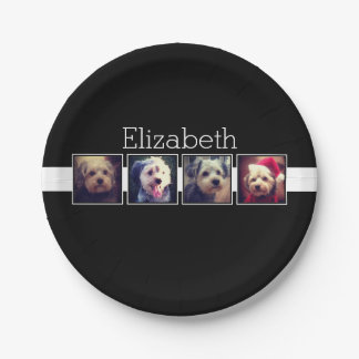 Black and White Photo Collage Squares Personalized 7 Inch Paper Plate