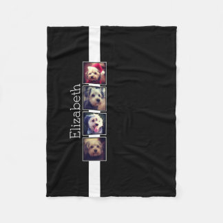 Black and White Photo Collage Squares Personalized Fleece Blanket