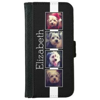 Black and White Photo Collage Squares Personalized iPhone 6 Wallet Case