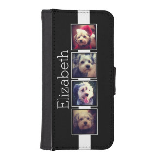 Black and White Photo Collage Squares Personalized iPhone SE/5/5s Wallet Case