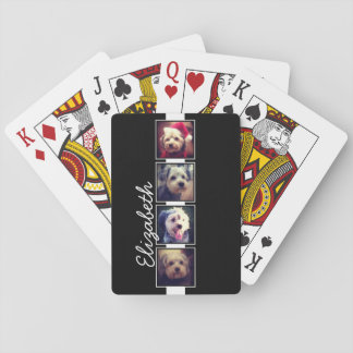 Black and White Photo Collage Squares Personalized Playing Cards