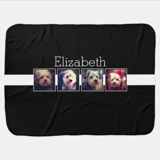 Black and White Photo Collage Squares Personalized Swaddle Blankets