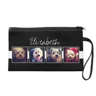 Black and White Photo Collage Squares Personalized Wristlet Purse
