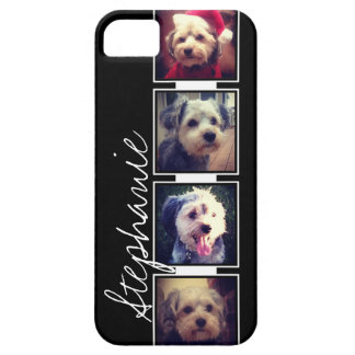 Black and White Photo Collage Squares with name Barely There iPhone 5 Case