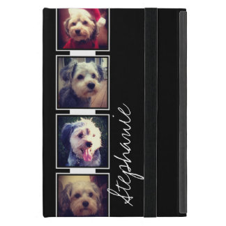 Black and White Photo Collage Squares with name Case For iPad Mini