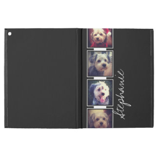 "Black and White Photo Collage Squares with name iPad Pro 12.9"" Case"