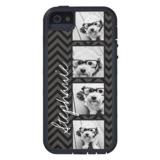 Black and White Photo Collage Squares with name iPhone 5 Cover