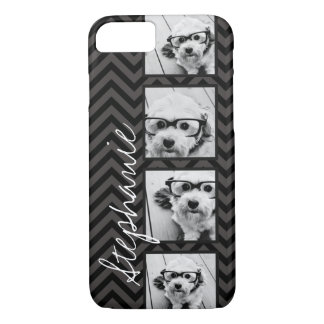 Black and White Photo Collage Squares with name iPhone 8/7 Case