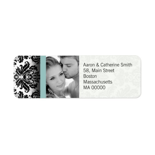 Black and White Photo Damask Address Labels