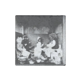 Black and white photo stone magnet