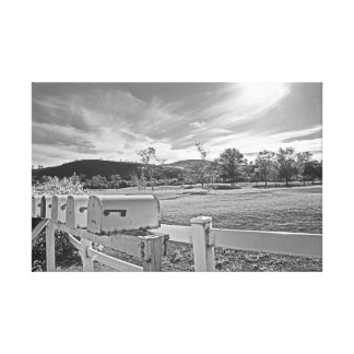 Black and White Photo Mailboxes Country Road Art Canvas Print