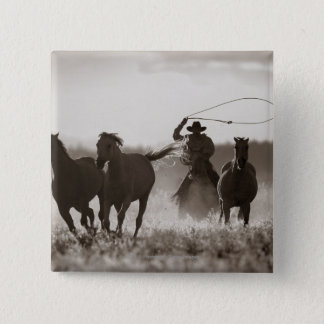 Black and White photo of a Cowboy Lassoing Horses 15 Cm Square Badge