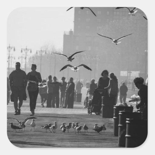 Black and White Photo of Coney Island Boardwalk Square Stickers