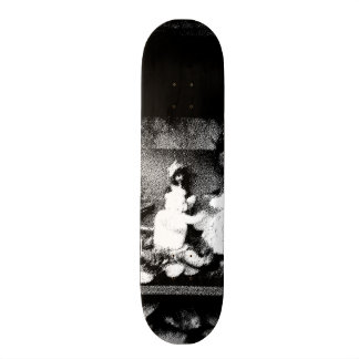 Black and white photo skateboard deck