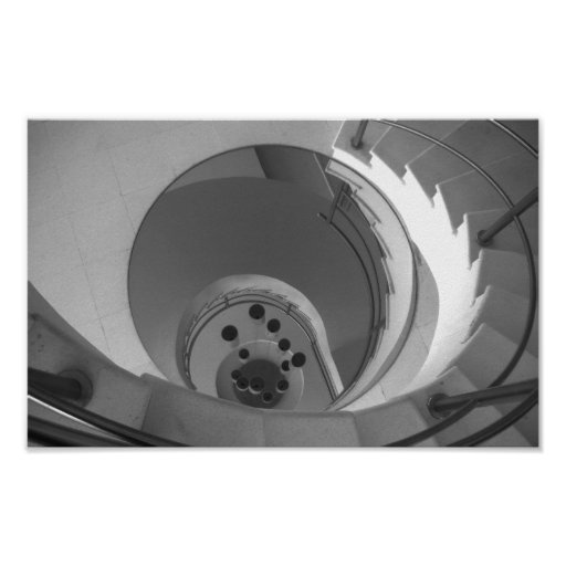 Black And White Photo Spiral Staircase Poster