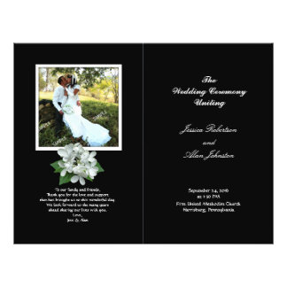 Black and White Photo Wedding Program Folded 21.5 Cm X 28 Cm Flyer