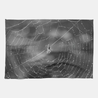 Black and white photograph of a spider and web tea towel