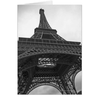 Black and white photograph of the Eiffel Tower Card