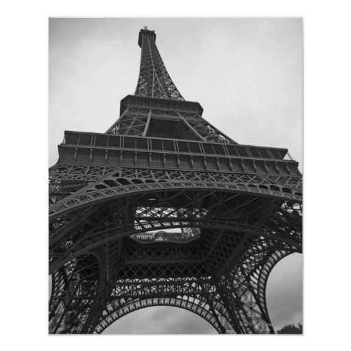 Black and white photograph of the Eiffel Tower