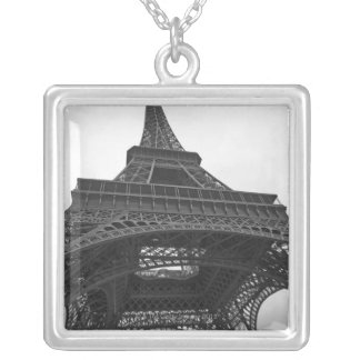 Black and white photograph of the Eiffel Tower Silver Plated Necklace