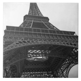 Black and white photograph of the Eiffel Tower Tile