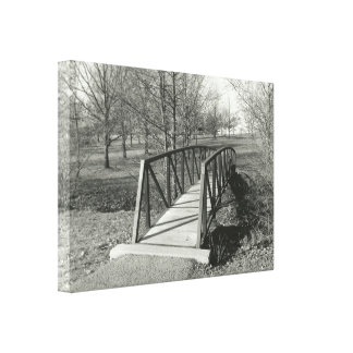 Black and White Photography of an Old Park Bridge Canvas Print